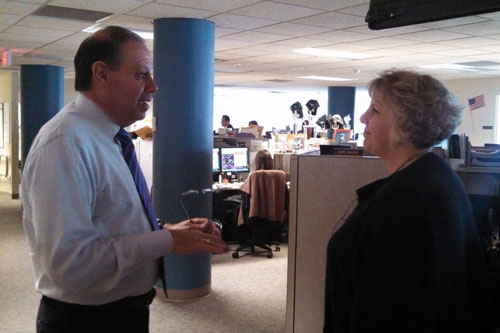 Barrett touring the Central Hudson Gas and Electric call center at their headquarters in Poughkeepsie with President James Laurito during one of her recent stops along the 'Where the Jobs Are' Tour